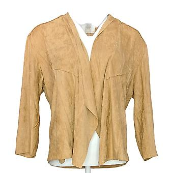 NorthStyle Women's 3/4 Sleeves Collared Polyester Jacket Brown