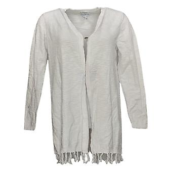 Susan Graver Dames's Sweater Katoen Slub Vest Fringe Wit A377186