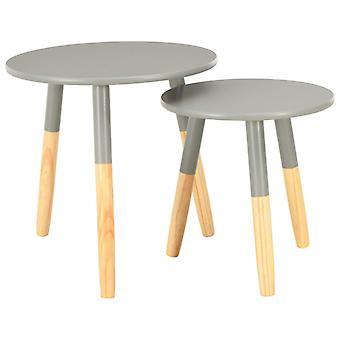 vidaXL Sivupöydät 2 Kpl. Harmaa mänty massiivipuu
