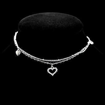 Sterling Silver Heart Rhinestone Pendant