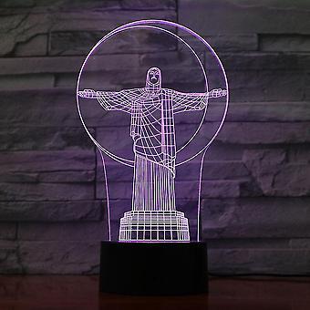 Brasilien Heil Christus Statue 3d Led Nachtlicht Schlafzimmer Tischlampe Farbe ändern