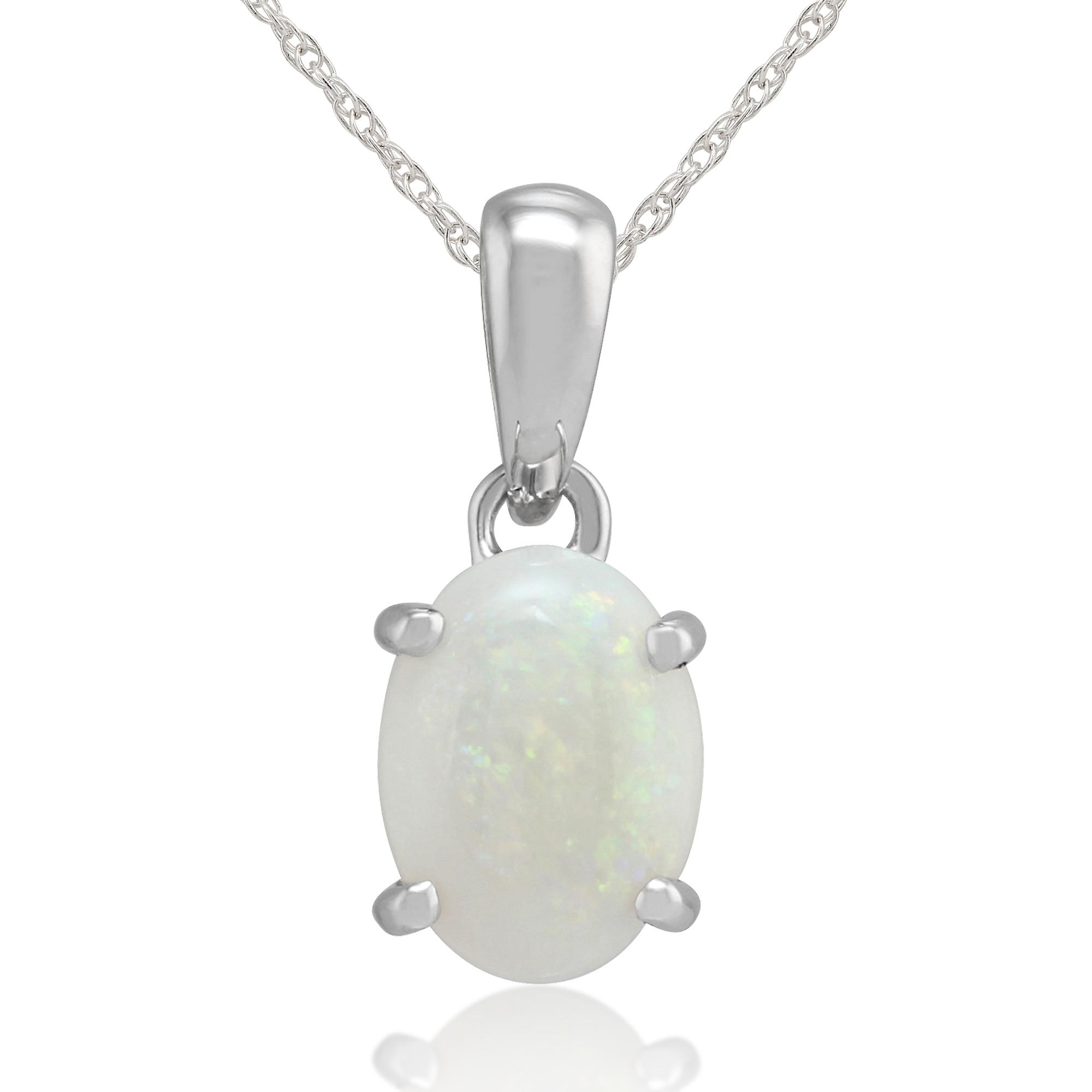 9ct White Gold 0.69ct Opal Cabochon Single Stone Pendant on 45cm Chain
