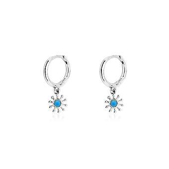 Boho betty field blue silver sunburst drop earrings