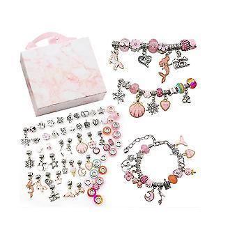 Pink kids's creative diy crystal bracelet jewelry making kit pink gift box set dt5518