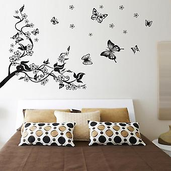 Diy Black Butterfly Flower Wall Sticker Poster Living Room Home Decal