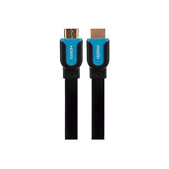 Maplin Premium HDMI Platt kabel Guldkontakt 1080p 2K 4K 3m