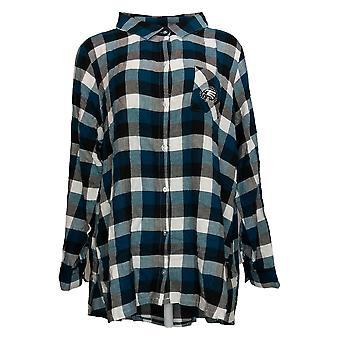 NFL Women's Top Breakout Flannel Tunic Shirt Green A387691