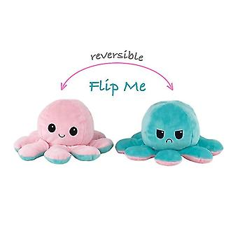 Réversible Octopus Plushie Double-sided Flip Doll Show Mood Toy (Turquoise rose)