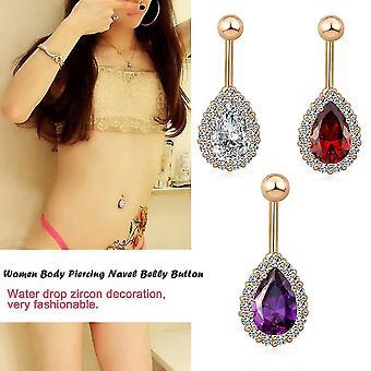 Ženy Zircon Water Drop Dekorace Břišní prsten Tělo Piercing Pupek Pupek Tlačítko