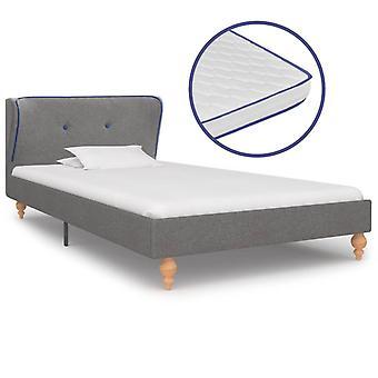 vidaXL bed with memory foam mattress light gray fabric 90×200 cm