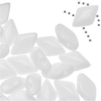 Tšekin lasi helmiDuo, 2-reikäinen timantti muotoinen helmiä 8x5mm, 8 grammaa, liitu läpinäkymätön