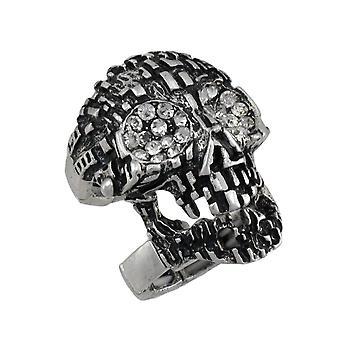 خاتم جمجمة فضية الدروع مع عيون حجر الراين