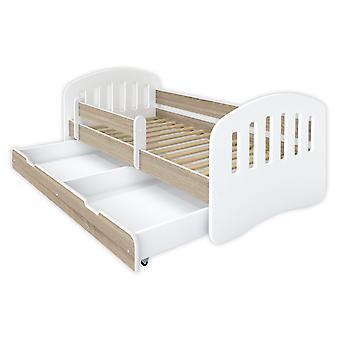 Kinderbed 160x80 wit / houtkleur met lattenbodem en matras