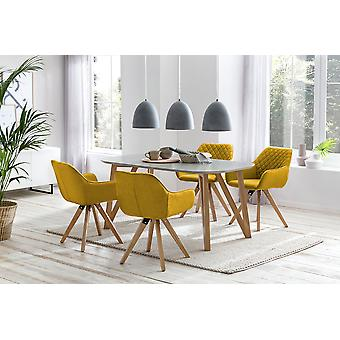 Tomasso's Brescia Dining Chair - Dining Chairs - Kitchen Chair - Dining Room Chair - Modern - Yellow - Fabric - 59 cm x 61 cm x 88 cm