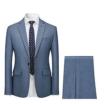 Mile Mens Single Breasted 2 Piece Suit Tailored Fit Jacket Trousers