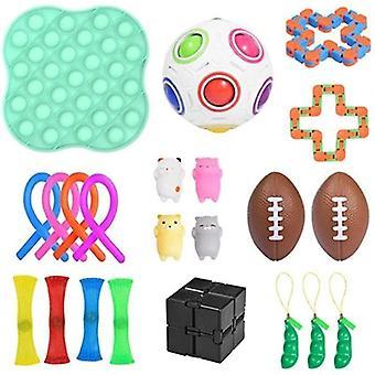 22 Pcs Pop It Sensory Antistress Decompression Toy Pack