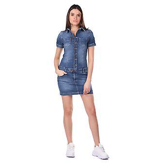 kvinners knappet jean kjole