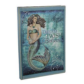 Bedazzled blå gnistrande mystiska sjöjungfru tidning 8,25 X 6 tum