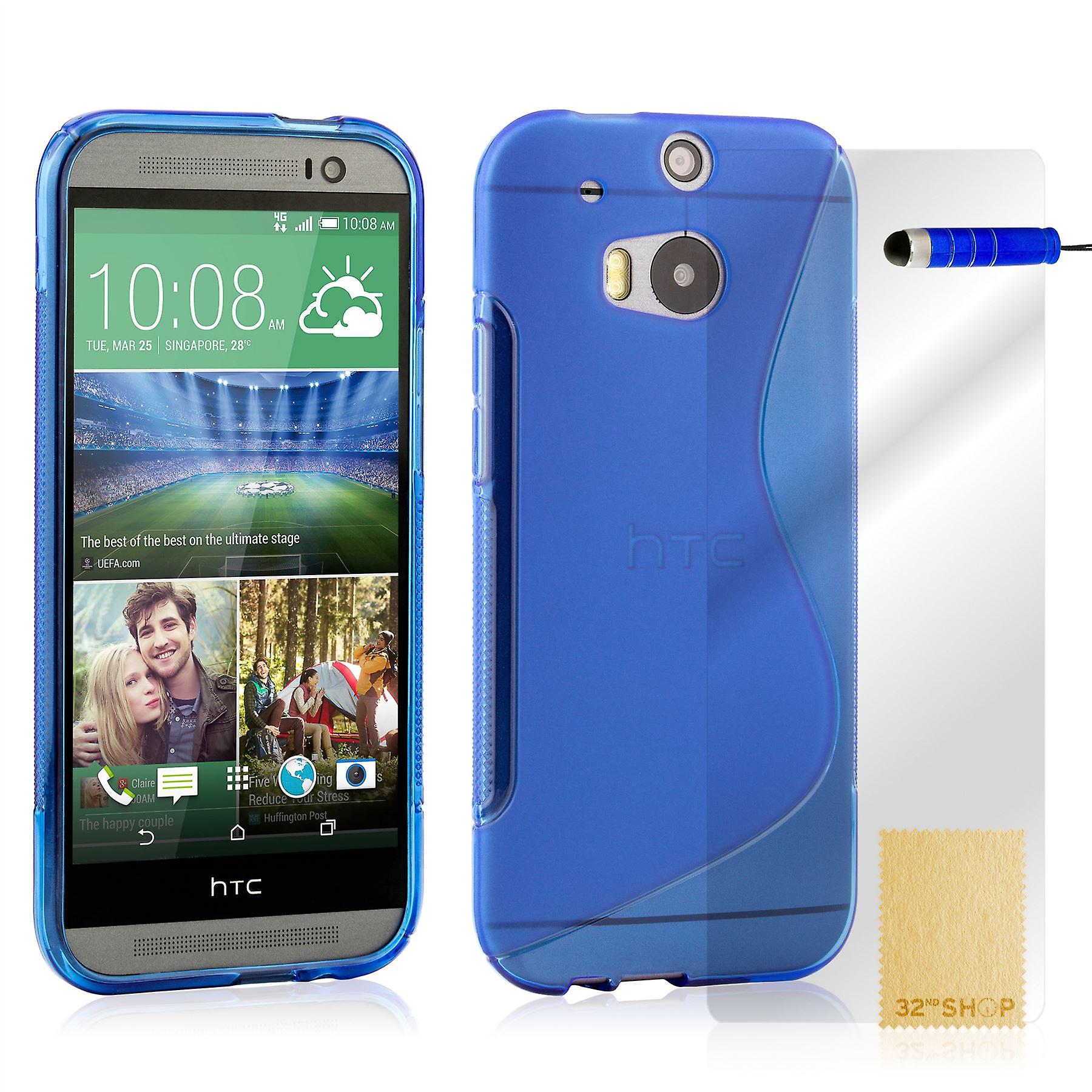S-Line Case Cover for HTC One M8 + Stylus - Deep Blue