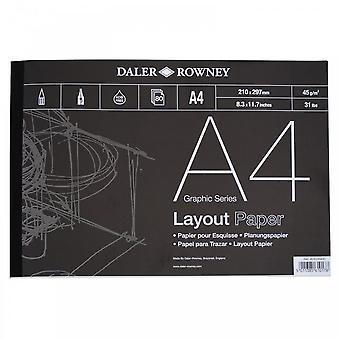 Daler Rowney Layout Gummed Pad A4