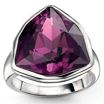 925 sølv ametyst Swarovski krystall trekant Ring