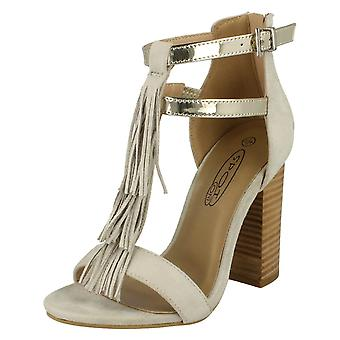 Womens Spot On Heeled Tassel Sandal F10538