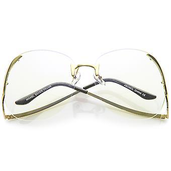 Damen Randlos geschwungene Metall Arme Runde klare Linse Oversize Brillen 67mm