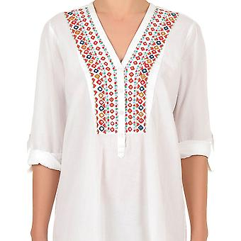 Iconique IC7-031 Women's White Aztec Embroidered Blouse Cover Up