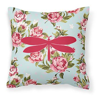 Moth Shabby Chic Blue Roses   Canvas Fabric Decorative Pillow BB1061