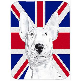 Bull Terrier with English Union Jack British Flag Glass Cutting Board Large Size