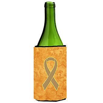 Perzik lint voor baarmoederkanker bewustzijn wijnfles drank isolator Hugger