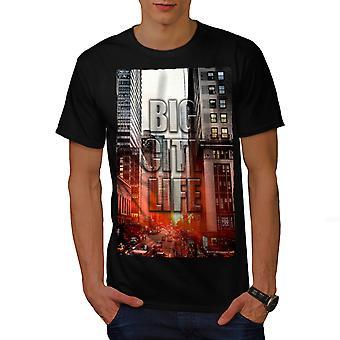 Big Life Urban Photo City Men BlackT-shirt | Wellcoda
