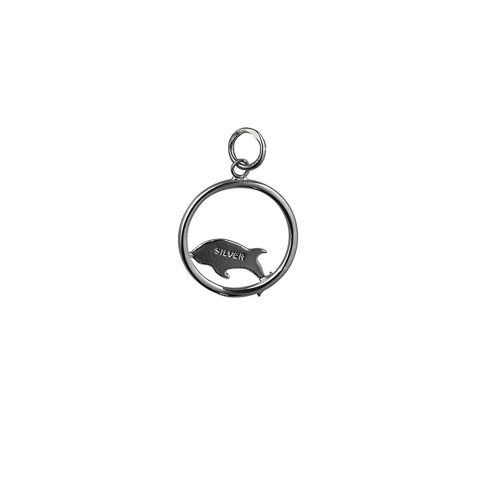Silver 18x18mm Dolphin jumping to the right in a circle Pendant or Charm