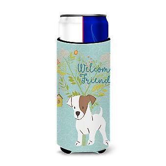 Welcome Friends Jack Russell Terrier Puppy Michelob Ultra Hugger for slim cans