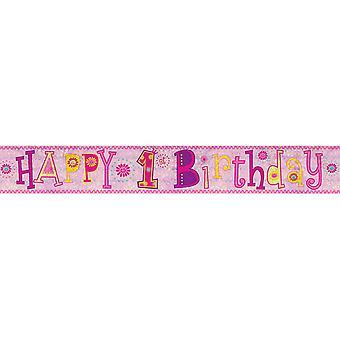 Amscan 1er anniversaire fille holographique papier bannière