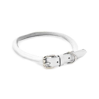 Dapper Chiens Main Crafted Collier en cuir rond pour chiots, blanc