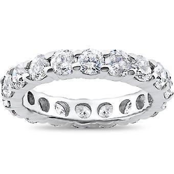 4ct יהלום הנצח סוליטר טבעת נישואין 14 קאראט לבן זהב