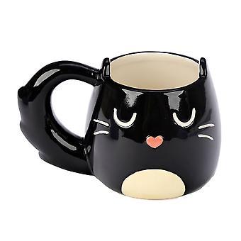 Puckator Black Cat formade handtag mugg