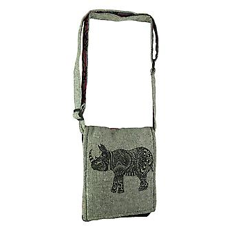 Tribal Rhino Boho Fold Over små bomull Crossbody Bag