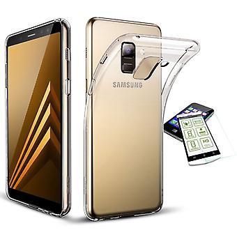 Silikoncase transparent + 0.3 H9 härdat glas för Samsung Galaxy A8 plus A730F 2018