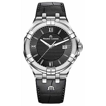 Maurice Lacroix Mens Aikon Black Leather Strap Black Dial AI1008-SS001-330-1 Watch
