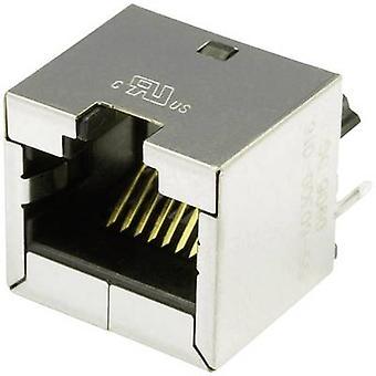 Modüler yapılı çalı dikey korumalı Cat 6 A Soket, dikey dikey pim sayısı: 8P8C SS-60300-016 Nikel kaplı, Metal BEL Stewart Konektörleri