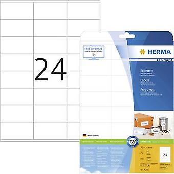 Herma 4360 Labels 70 x 36 mm Paper White 600 pc(s) Permanent All-purpose labels, Address labels Inkjet, Laser, Copier 25 Sheet A4