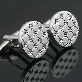 Premium Smart srebrny okrągły spinki do mankietów Stud owalne kamienie spinki do mankietów koszuli przycisk
