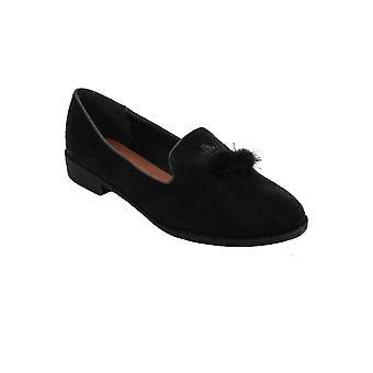 Slip dames Dolly chaussures fourrure pompon Pom Pom pompes daim ballerines