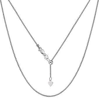 10 k białe złoto regulowane pszenicy Link naszyjnik łańcuch, 1.0 mm, 22