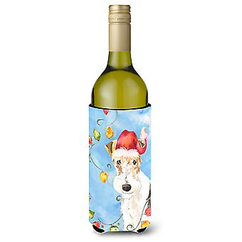 Christmas Lights Fox Terrier Wine Bottle Beverage Insulator Hugger