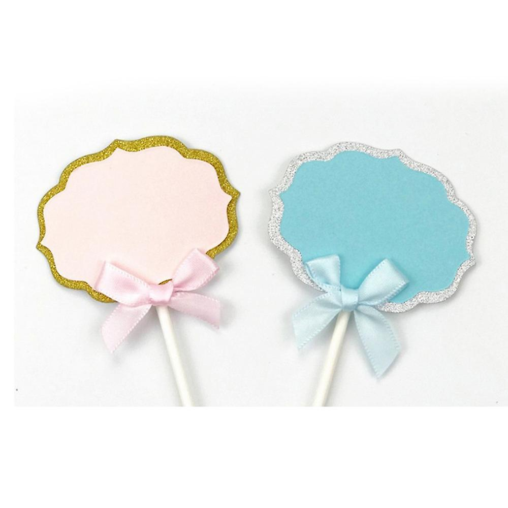TRIXES Set of 5 Blank Vintage Food Marker Labels with Ribbon Bow - for Canapes Cheeses and Appetisers  Blue and Silver