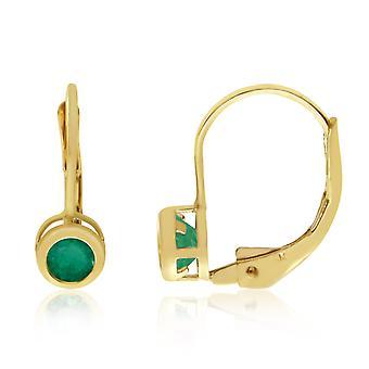 LXR 14k keltainen kulta 4mm smaragdi kehys vipupalautin korvakorut 0.3ct