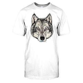 Estilizado lobo jefe arte niños T Shirt